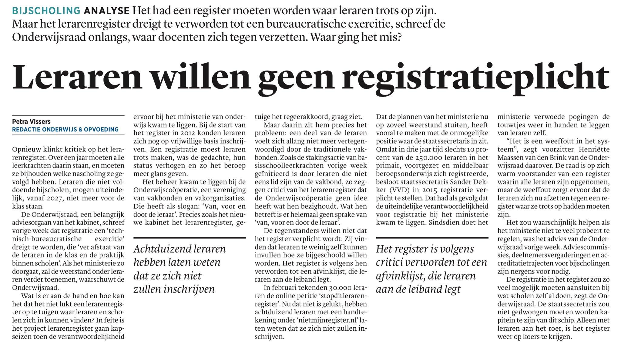 Leraren willen geen registratieplicht