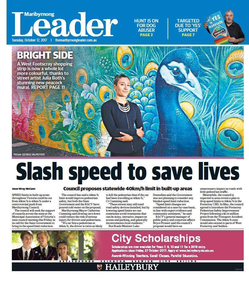 In today's @maribyrnongldr, council pushes for 40km/h zones in built-up areas & street art program enlivens the west https://t.co/A7W2CdYmnL https://t.co/7sJABJyC4e