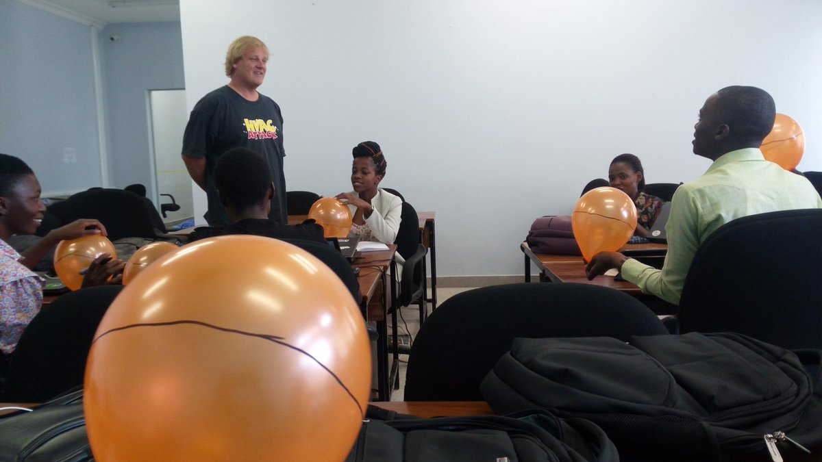 The @Ramanihuria team learning #GIS as trained by @ivangayton himself, learning the geometry with #balloons as #Earth #Fun #Moments<br>http://pic.twitter.com/fSsNOXGqZv