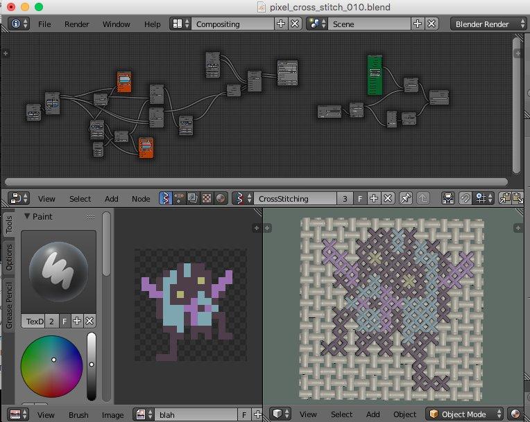 Studying cross stitching using #blender3d #b3d #pixel #crossstitch #nodes #sverchok<br>http://pic.twitter.com/RFNPzZGkOn