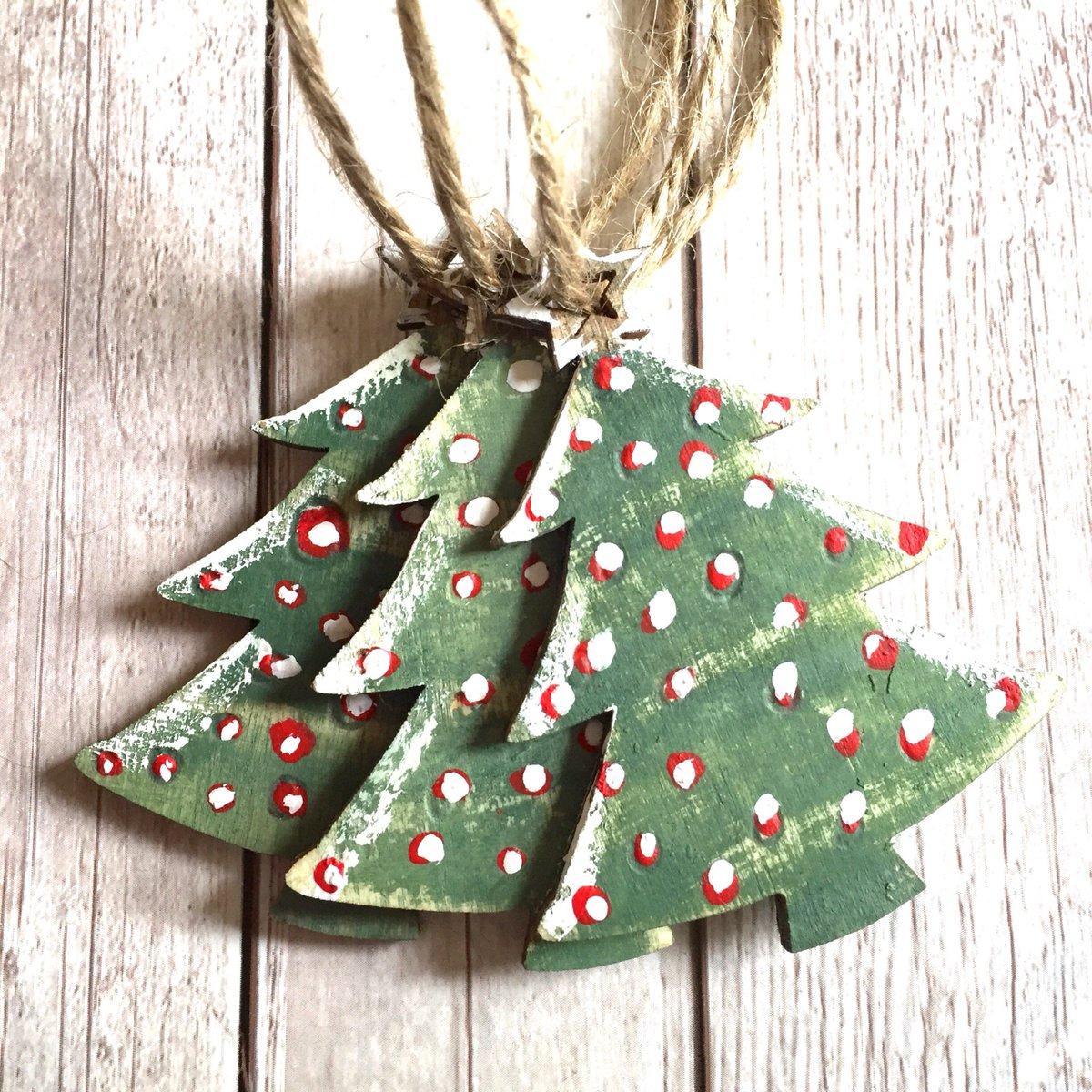 Slumbermonkey Design On Twitter Christmas Tree Decorations Set Of 3 Hand Painted Wooden Ornaments Ru Https T Co Ad6xkveb4a Etsy Woodlanddecor