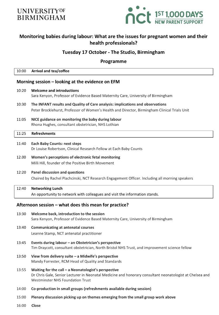 Great programme for the #NCT and #UoB study day: &#39;Monitoring babies during labour&#39; in #Birmingham today  #midwives #research #babies #NHS<br>http://pic.twitter.com/hmf7iig7Ag