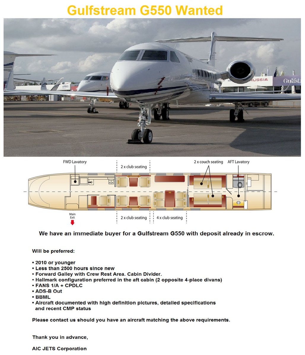 We have buyer for #Gulfstream G550 #AICJETSCorporation #AICJETSUSA  #AICJETSUAE  http://www. aicjetscorp.com  &nbsp;     http://www. linkedin.com/company/aicjet scorporation &nbsp; … <br>http://pic.twitter.com/vsEy20aT9Q