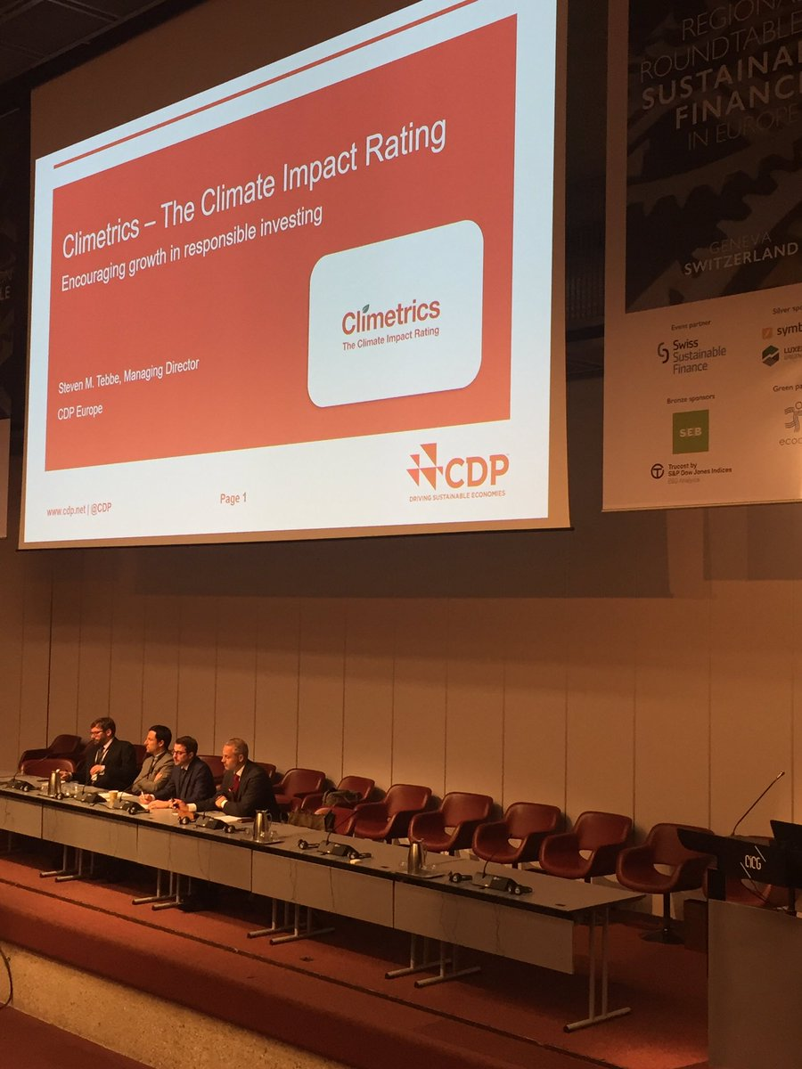 Steven Tebbe @CDP presents the award winning Climetrics which recently won 1st prize at #SInv17 for #innovative #finance tool #RRT2017<br>http://pic.twitter.com/qA4K23HZId
