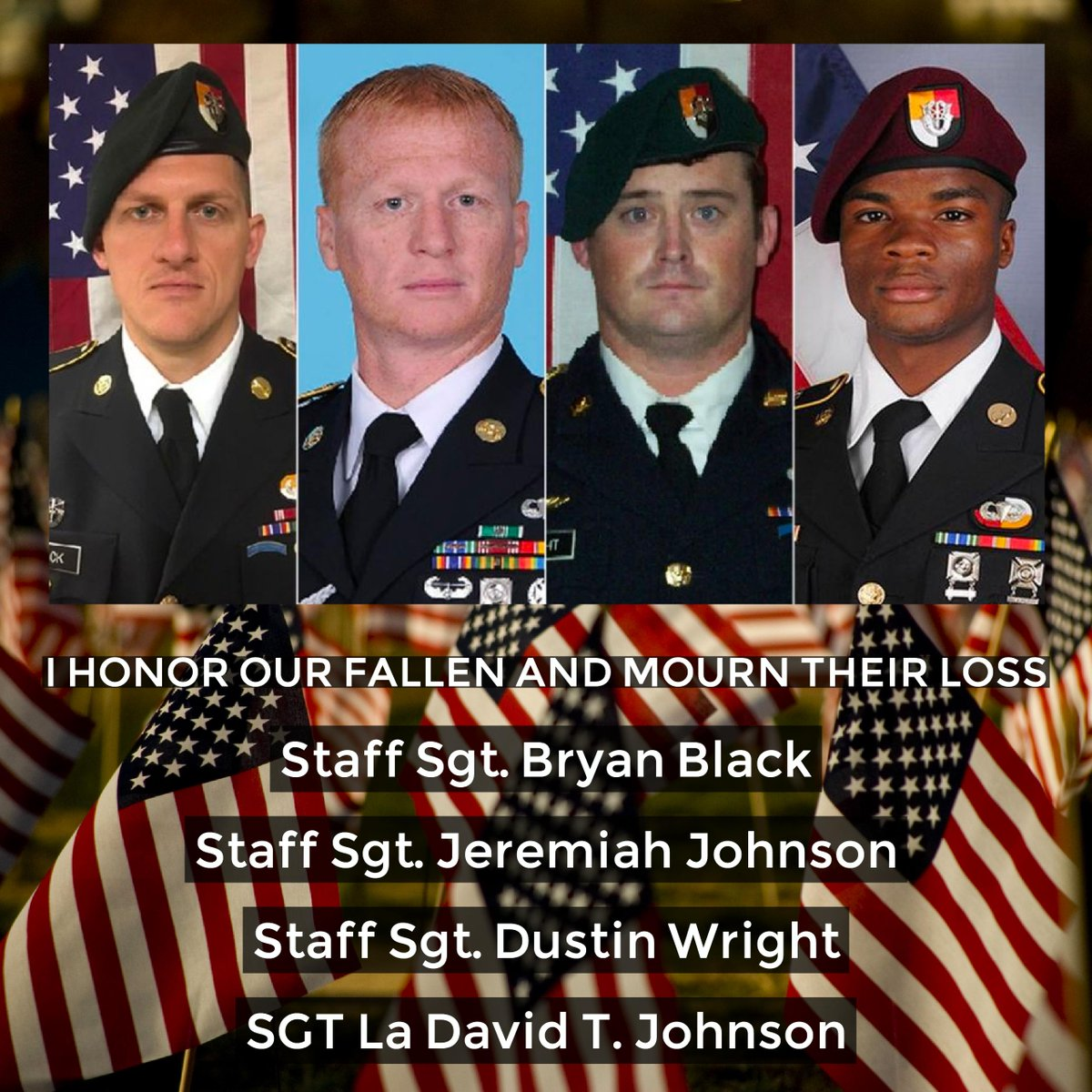 The 4 soldiers who lost their lives in service to their country. I am grateful 4 their service &amp; mourn their loss. #Trump needs to as well. <br>http://pic.twitter.com/t4s2ruxAUo