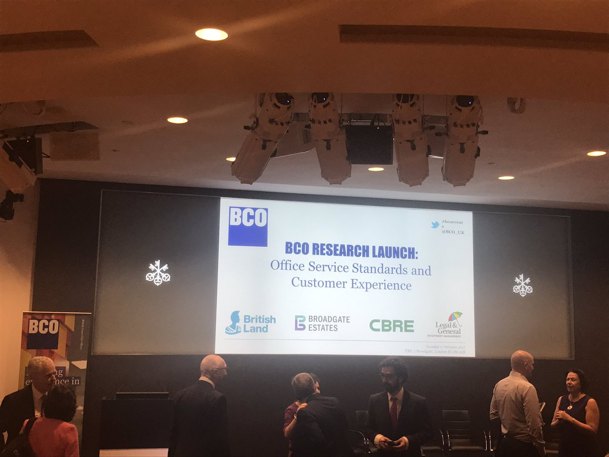 RT @BCO_UK Welcome BCO members to @UBS for 'Office Service Standards and #CustomerExperience' report launch #BCOresearch
