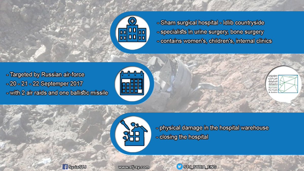 The Attacks on #al_Sham Surgical Hospital in #Hass #Idlib on 20-21-22 September 2017 causing it to go out of service  https://www. stj-sy.com/en/view/271  &nbsp;  <br>http://pic.twitter.com/w6yhRJg9oY