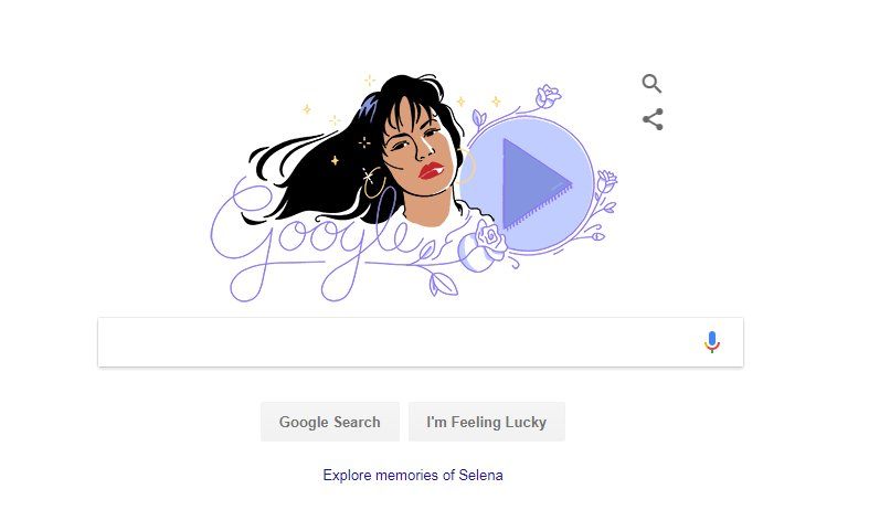 Have you seen today&#39;s #GoogleDoodle featuring @SelenaLaLeyenda yet? Don&#39;t miss it! #AnythingForSelenas  https://www. google.com/doodles/celebr ating-selena-quintanilla &nbsp; … <br>http://pic.twitter.com/HboTHGCx9E