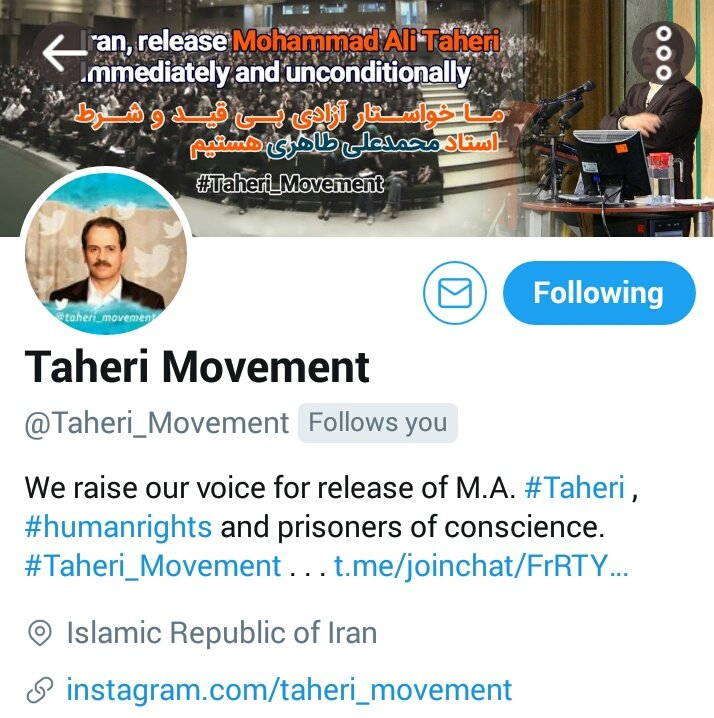 We ask all #human_rights activists to support Dr. #Taheri . Help us with your #humanitarian support of our page below plz #Taheri_movement<br>http://pic.twitter.com/J4BDzdTdQH