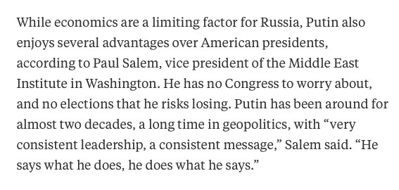 Main difference between #US presidents &amp; #Russia &#39;s #Putin : @PutinRF_Eng &quot;says what he does &amp; does what he says.&quot;  https://www. bloomberg.com/news/articles/ 2017-10-03/putin-is-now-mr-middle-east-a-job-no-one-ever-succeeds-at &nbsp; … <br>http://pic.twitter.com/n11zjwHKOm