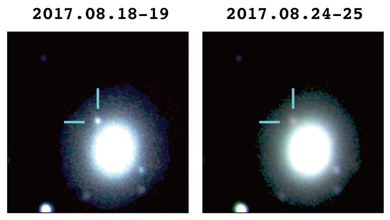 (国立天文台)重力波天体を追跡した天文学者たちは、キロノバを世界で初めて観測的に発見しました。太陽の1億倍も明るくて、地球の全質量の何千倍もの量の重元素や貴金属を作り出す、原子核反応のかまどです。 https://t.co/w8nIKqIhbv