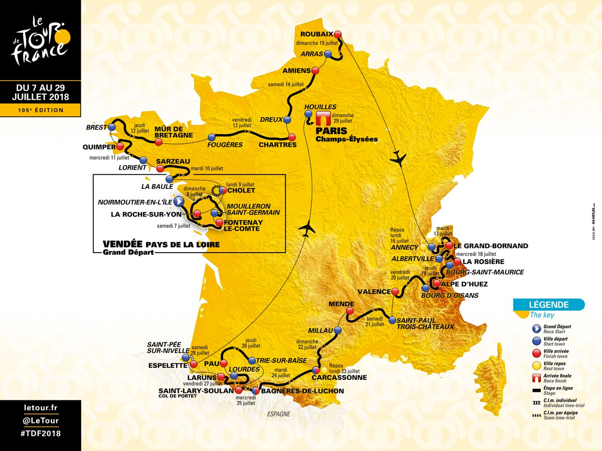 ⭐️⭐️ PARCOURS OFFICIEL DU #TDF2018⭐️⭐️ / ⭐️⭐️ HERE IS THE #TDF2018 OFFICIAL ROUTE ⭐️⭐️ #TDF2018 https://t.co/JxNsEXuWeI