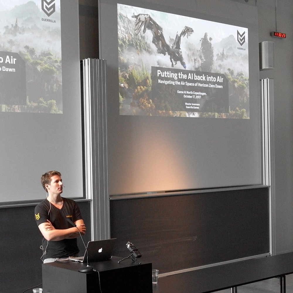 Across the hall, @wkjosemans is talking about navigating the air space of Horizon Zero Dawn. #gain17 <br>http://pic.twitter.com/4N0mDJVhpT
