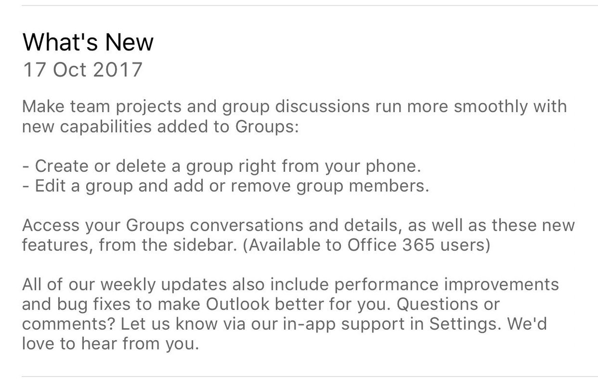 New features in #Outlook for iOS #Office365 out today<br>http://pic.twitter.com/R1vhGJobvl