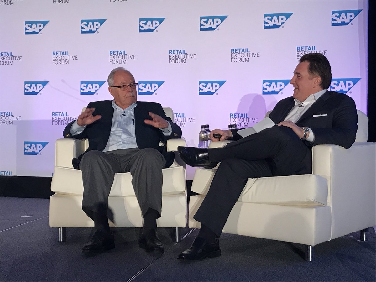 Excited to have iconic leader Jim Sinegal, founder and CEO of  @Costco share inspiring lessons on #retail #SAPREF<br>http://pic.twitter.com/5RLO2bEZCd