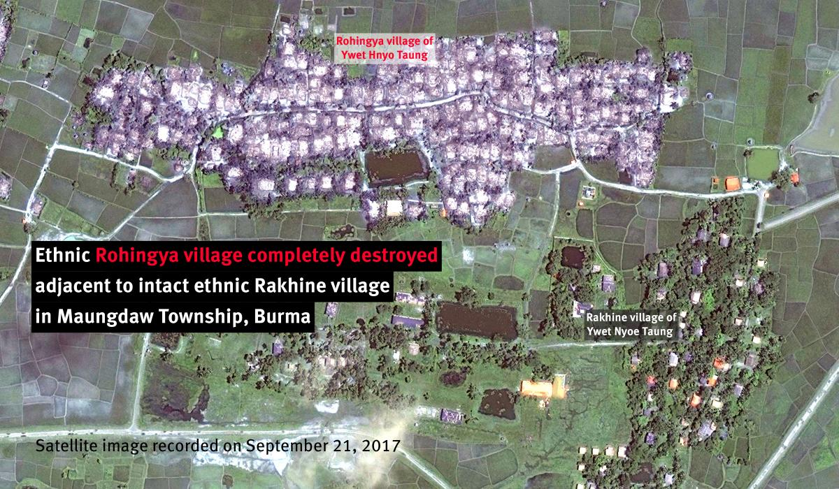 Completely burned Rohingya Muslim village stands next to fully intact ethnic Rakhine village. #EthnicCleansing https://t.co/Qn9v7vaBNE