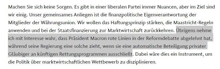 #Lindner taking a jab at #Macron in new interview: he says no red lines but he just drew one to exclude bail-ins.  http://www. faz.net/aktuell/wirtsc haft/christian-linder-fdp-vorsitzender-kritisiert-grosse-koalition-15249425.html &nbsp; … <br>http://pic.twitter.com/fixw8GYxwK