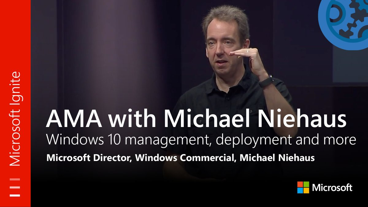 From #MSIgnite: Ask Me Anything w/Michael Niehaus on #Windows10 management, deployment &amp; more. Watch session here:  http:// youtu.be/t3ufvIHKILI  &nbsp;  <br>http://pic.twitter.com/P2dw6JIAdg