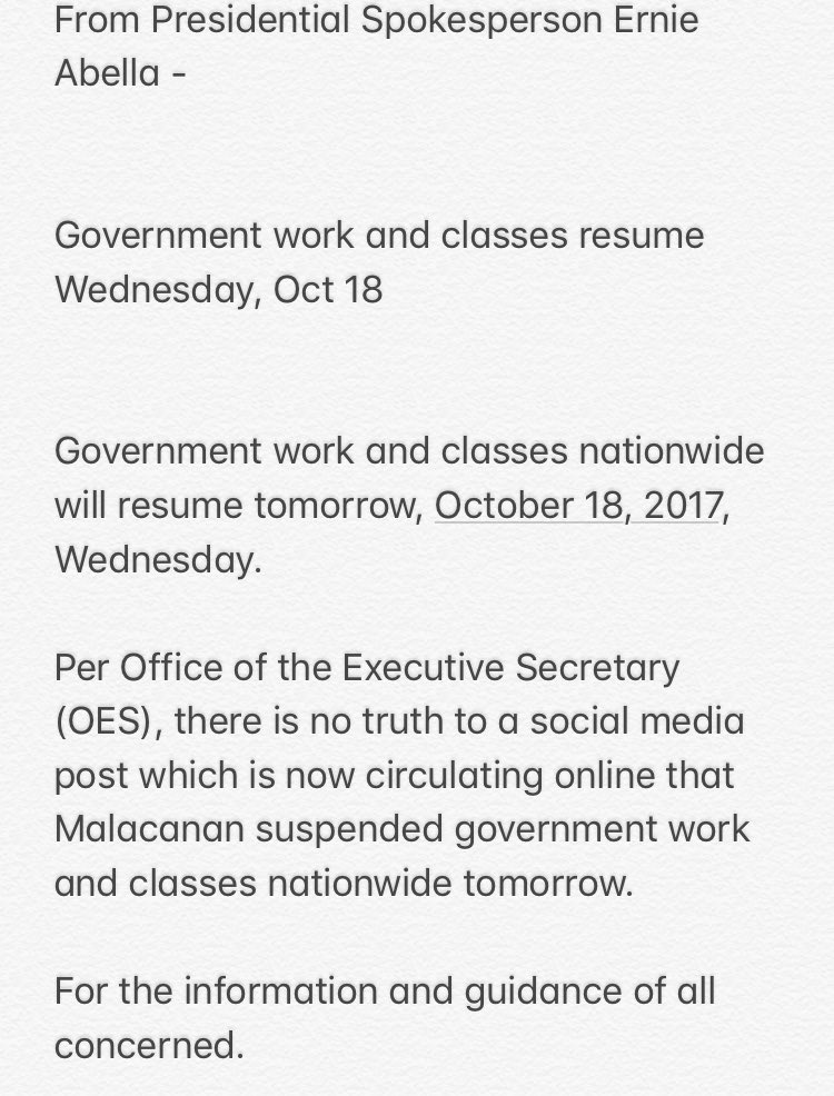 Palace says classes, work in gov't to resume tomorrow, Oct. 18  | via @dgplacido