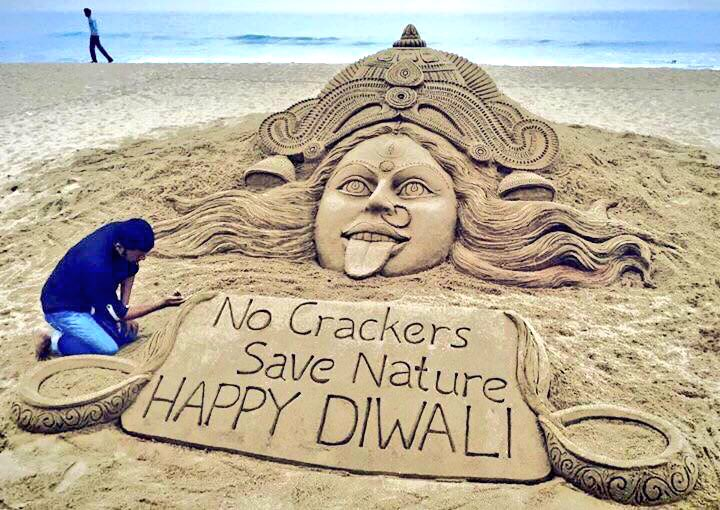 No Crackers Save Nature #HappyDiwali - one of my SandArts for the Fest...