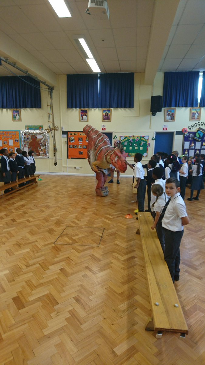 Dinosaur day for year three today as part of our creative curriculum approach #RAWR! #trexontherun