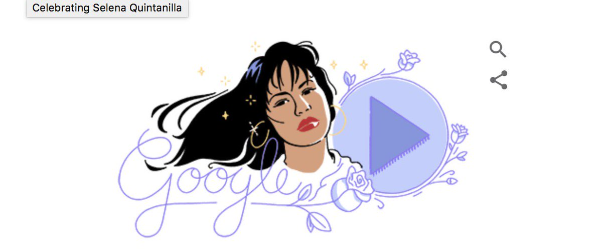 Google Doodle celebrates the legacy of #Selena today. #SelenaDoodle ht...