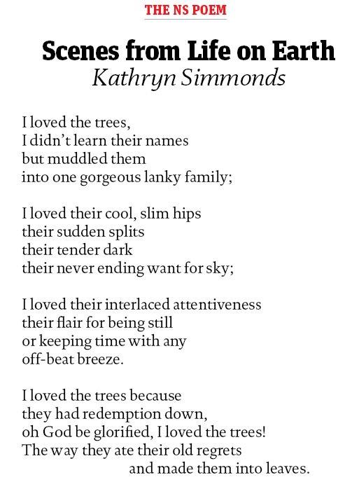 test Twitter Media - RT @Tom_Gatti: The @NewStatesman poem: Scenes from Life on Earth by @KathrynSimmonds https://t.co/4C7pKfbxx8 https://t.co/XO8b8A79mS