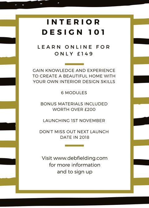 Don&#39;t miss out, Interior Design 101 online course 1st November only £149, sign up at  http://www. debfielding.com  &nbsp;   #newskills #interiordesign<br>http://pic.twitter.com/FA7PzPG0QJ