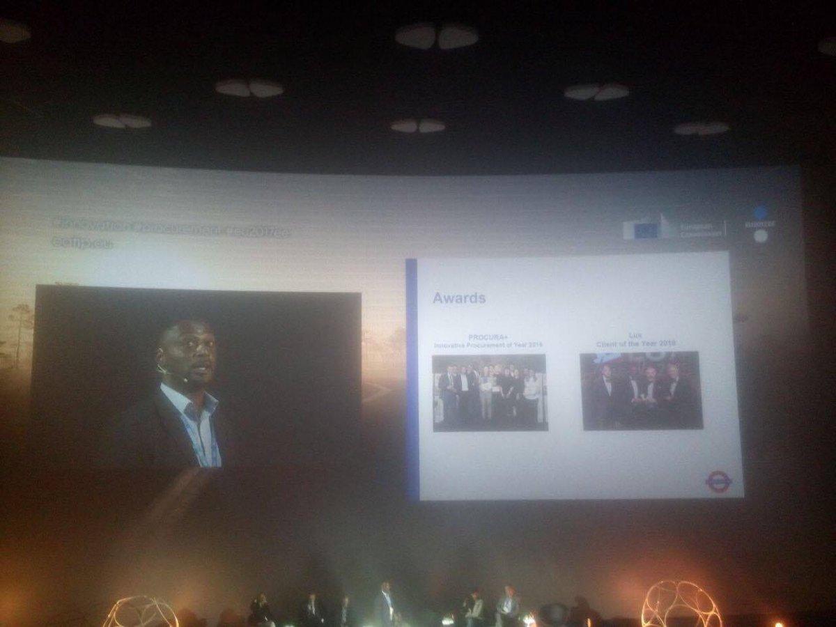 Leon Smith, last year&#39;s #procuraplus awards winner presenting on @TfL&#39;s lighting procurement of innovation at the #eu2017ee @ICLEI_Europe<br>http://pic.twitter.com/xMbg6q8jDK