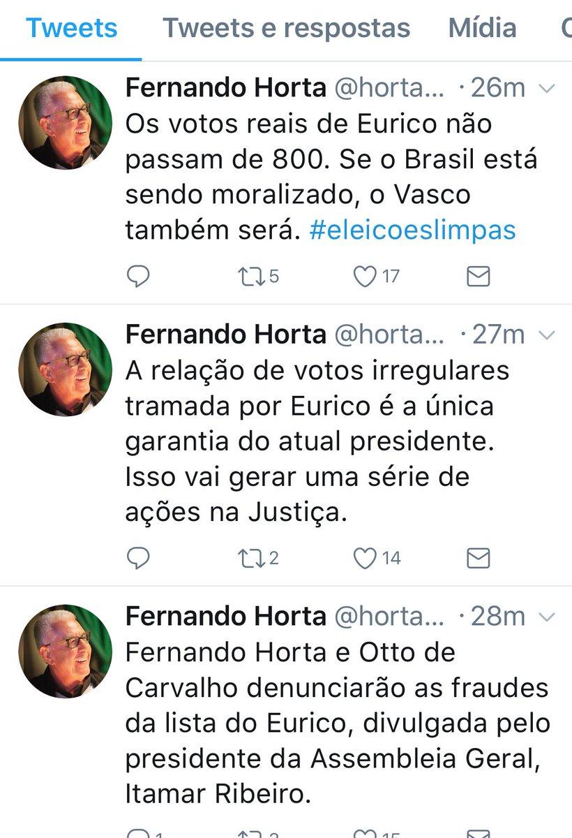 Na timeline de @horta_2017, candidato à presidência do Vasco e ex-vice geral de Eurico Miranda
