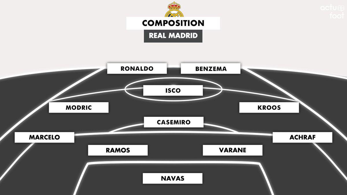🔴 Le XI du Real Madrid !   Navas - Achraf, Varane, Sergio Ramos, Marcelo - Casemiro, Kroos, Modric - Isco - Benzema, Ronaldo.  #RMATOT
