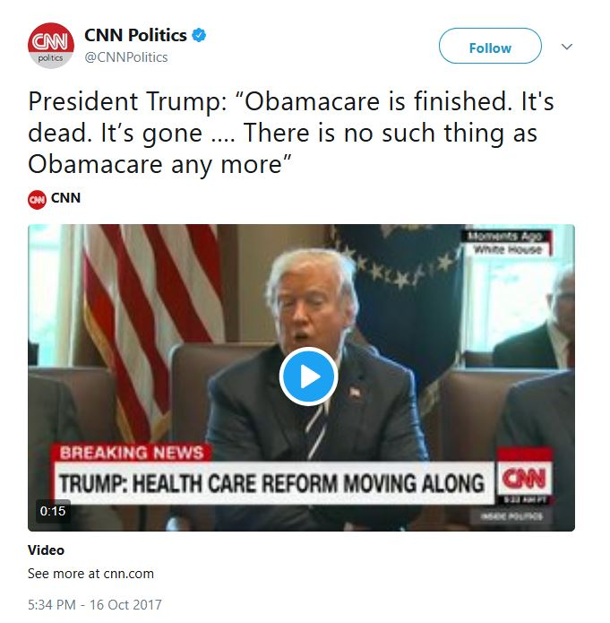 Those are #TrumpCare premiums. @realDonaldTrump says so. Please correct your false headline ;-) https://