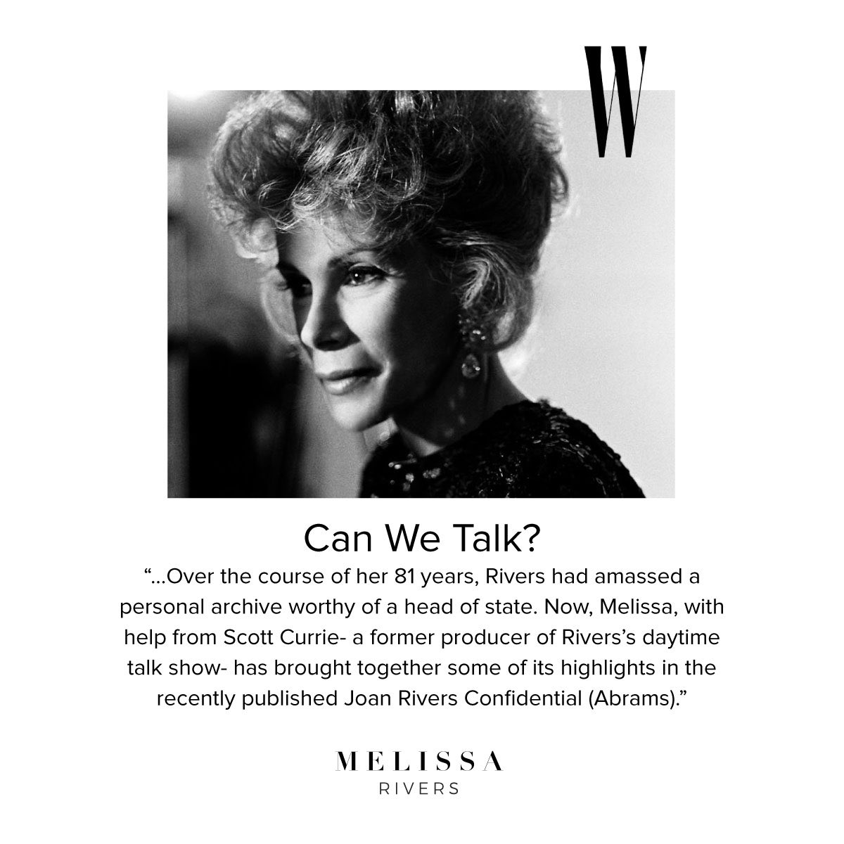 RT @MelRivers: Sneak peek of Joan Rivers Confidential in @wmag! Preorders available now and in stores October 24. https://t.co/k6pSJBd6mR