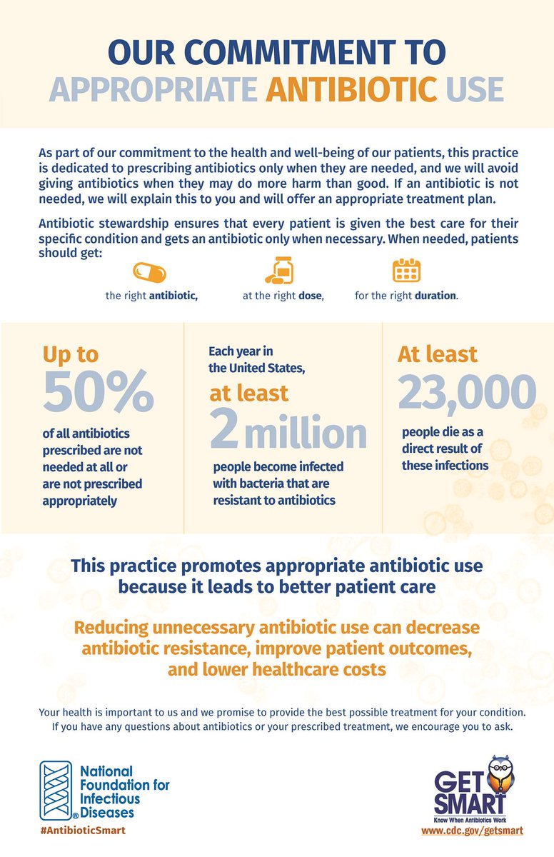 A1: Each year in the US, at least 2 million become infected w/ bacteria that are resistant to #antibiotics #IIPWChat  http://www. nfid.org/links/antimicr obial-resistance &nbsp; … <br>http://pic.twitter.com/3LDZu1oazM