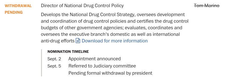 Our appointee tracker now includes withdrawal of Rep. Marino as drug czar — a key role in fighting the opioid crisis https://t.co/2mrhGnKx6B