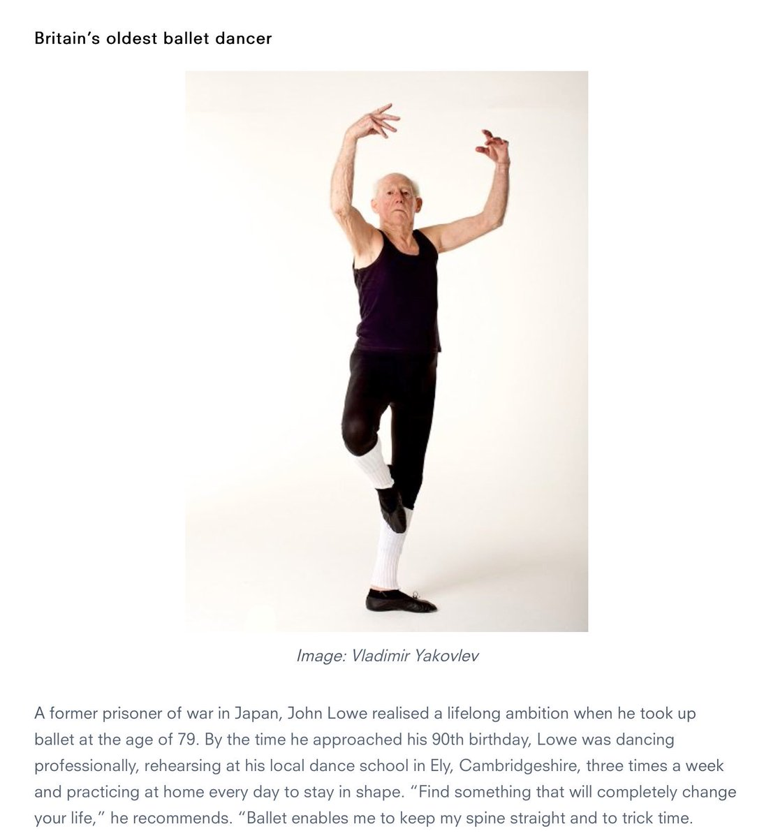 Never too #old to #dance Follow John Lowe&#39;s example; he took up #ballet at 79 &amp; still dancing at over 90 Fabulous  @onedanceuk #ageing well<br>http://pic.twitter.com/7yJ5figaTn