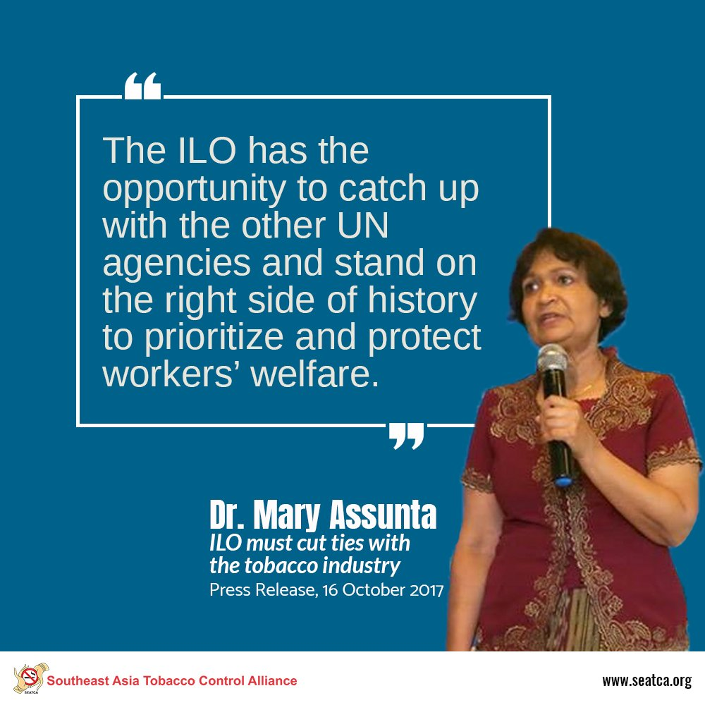 #PressRelease: @ilo must cut ties with the tobacco industry  https:// seatca.org/?p=11712  &nbsp;   @MaloneRuth @farmormottobak @m_hef<br>http://pic.twitter.com/yh49205vkI