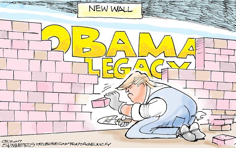 Editorial cartoon by Dana Summers #Donald #Trump #DonaldTrump #Barack #Obama #BarackObama #TheWall #ObamasLegacy #ObamaCare #TrumpCare<br>http://pic.twitter.com/6hgwJjoiGr