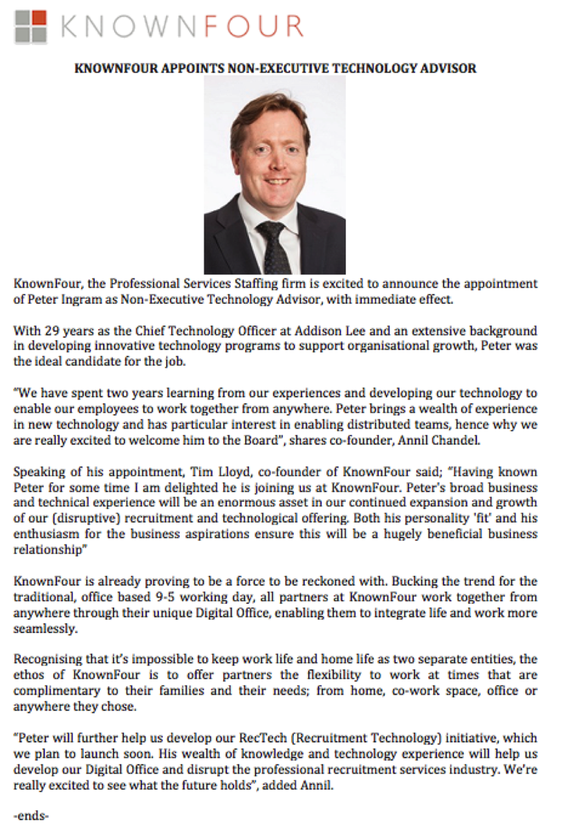 #PRESSRELEASE - 16TH OCT 2017 - @KnownFourLtd are pleased to welcome #PeterIngram as Non-Executive Technology Director<br>http://pic.twitter.com/GxbtWeYieT