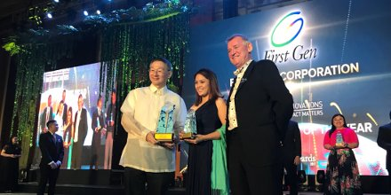 #GreenCompany Of The Year award goes to First Gen Corporation. Accepting the award is Catherine Sison of @FirstGenCorp. #AsiaCEOAwards2017<br>http://pic.twitter.com/g5OizGiySw
