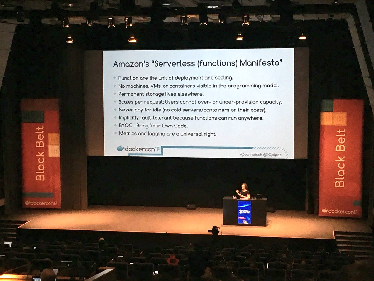 the truth behind #serverless @ewindisch from @IOpipes shares tips for #container orchestration and more for -based platforms at #dockercon<br>http://pic.twitter.com/G7XmcFX1dD