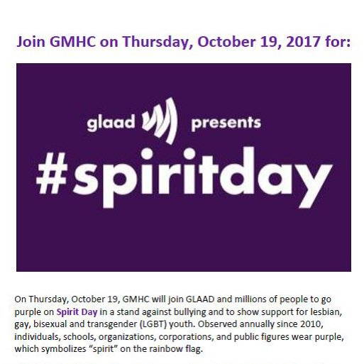 Gmhc On Twitter Oct 19 Is Glaads Annual Spirit Day Where We