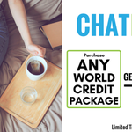CHAT PACK PROMO: Receive FREE 3 months of UNLIMITED Canada-wide texting with the purchase of any one of our world credit packages!!