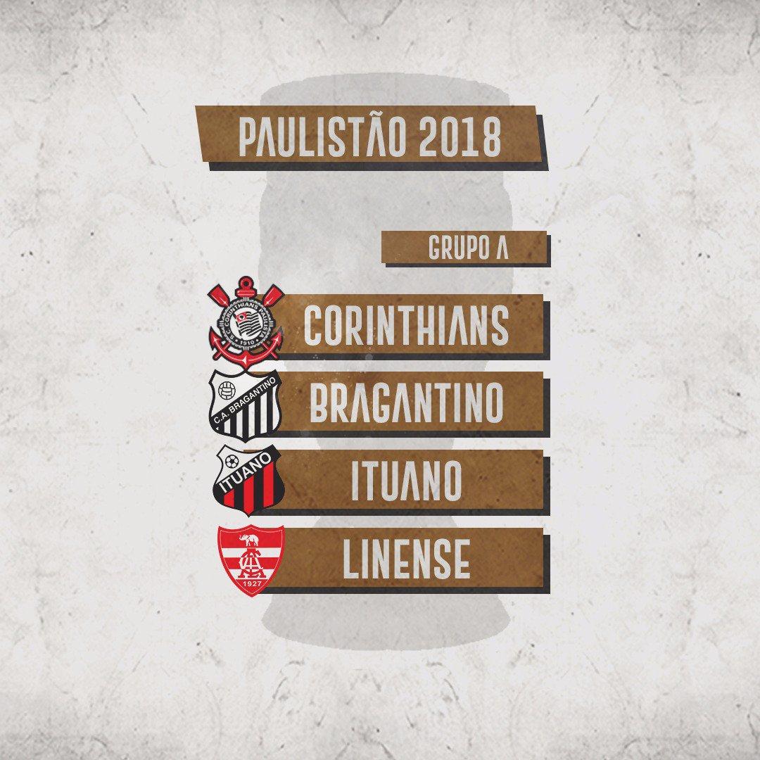 Atual campeão estadual, o Corinthians ficou no Grupo A do #Paulistão2018, com Linense, Ituano e Bragantino!  #VaiCorinthians