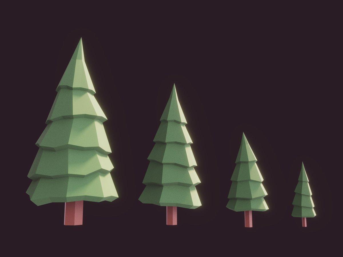 Some Lowpoly Fir Trees #3d #lowpoly #blender3d #unity3d #b3d #u3d #gamedev #indiedev<br>http://pic.twitter.com/4sGjYBzuWz
