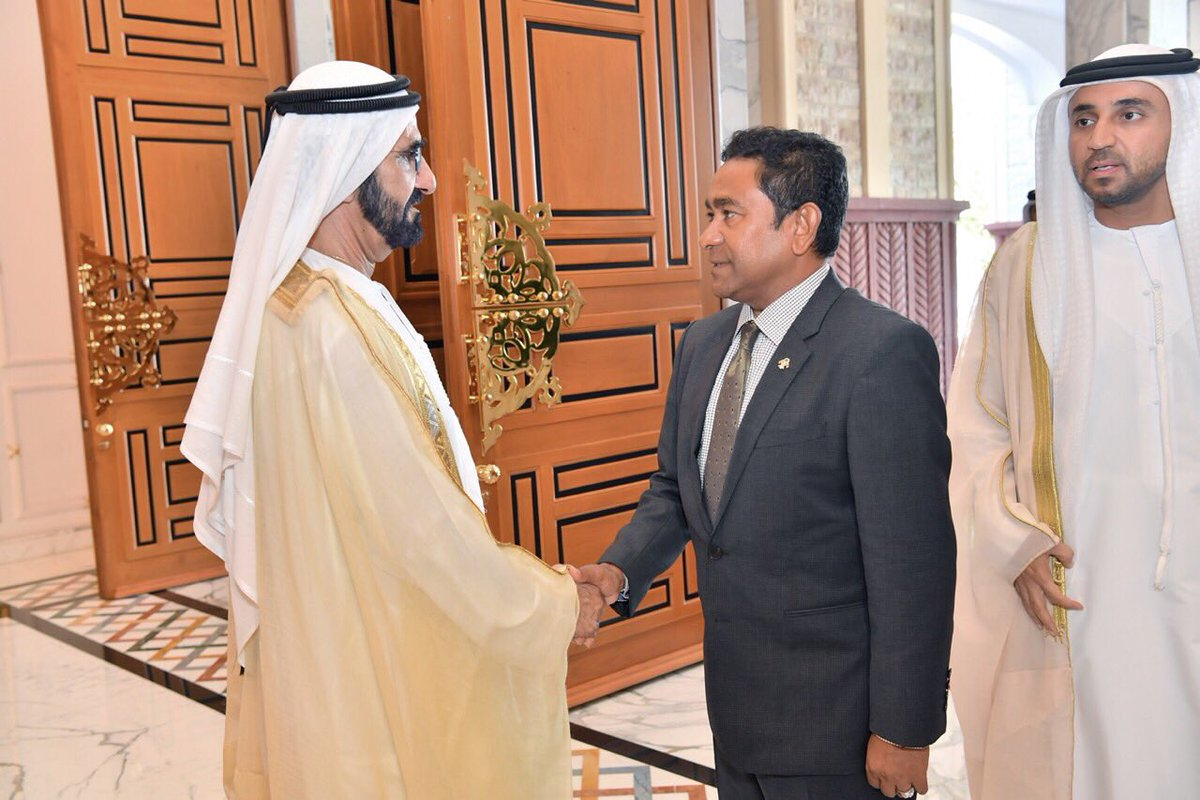 President meets with the Vice President and PM of #UAE and the Ruler of #Dubai <br>http://pic.twitter.com/kJKfJJNUOj