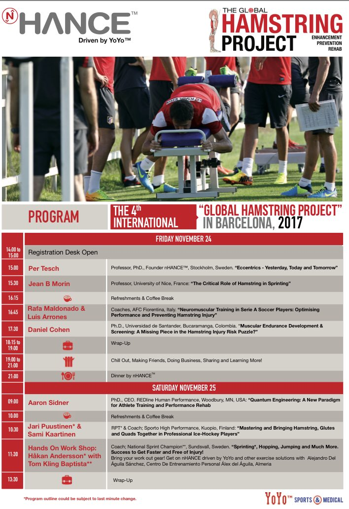 Honoured to be part of the 4th #globalhamstringproject in Barcelona#hamstring #nhance #sprinting #hockey #flywheeltraining #performance<br>http://pic.twitter.com/CP1T7LXX1N