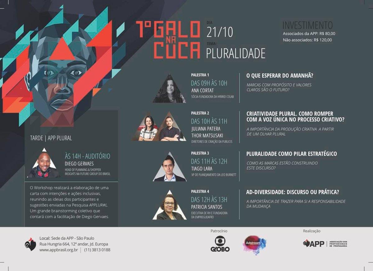 Dia 21/10 na APP em São Paulo vai rolar o evento Galo na Cuca com o tema Pluralidade: https://t.co/xHEYuQMXYL - Participe!