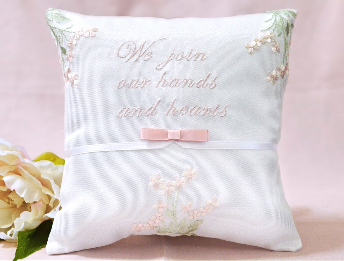 We Join Our Hands &amp; Hearts Blush Satin Ring Pillow  http:// etsy.me/2gopdGD  &nbsp;   @Etsy #etsymntt #weddings #lovequotes #fashion #decor #creativity<br>http://pic.twitter.com/aC5YG02A3J