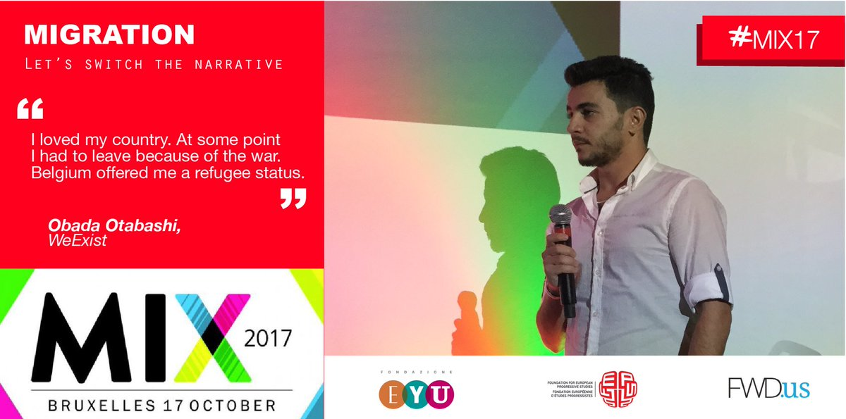 Obada was not able to find a job when he arrived to Belgium and he created @We_Exist_BE where he helps other Syrians #MIX17 #migrants <br>http://pic.twitter.com/4PW1UkIeyF